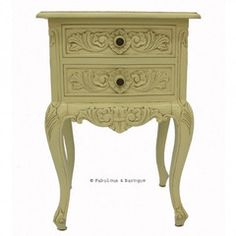 Cosette 2 Drawer Side Table - Ivory