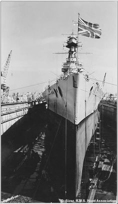 HMS Hood dry dock. She was sunk by the Bismarck with a direct hit;  only three men survived!