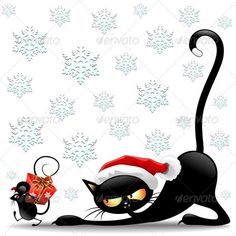 Buy Cat and Mouse Cartoon Funny Christmas Santa Claus by Bluedarkat on GraphicRiver. Black Cat Cartoon with Christmas Santa Hat looking at little Mouse passing with a Big Red Christmas Gift Including Ve. Funny Cartoons, Funny Cats, Funny Animals, Funny Mouse, Christmas Cats, Christmas Humor, Christmas Videos, Merry Christmas, Cat Cartoon Images