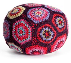 large crochet pouf