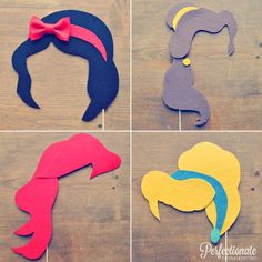 Disney Princess Photo Props // Snow White, Cinderella, Belle, Ariel // Disney Theme // Felt // Wedding Photo Booth Props