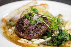 Steak Haché with grilled romaine, hard-boiled egg, gherkins, mustard vinaigrette, Dijon & bistro loaf #Toronto #Restaurant #French #Food