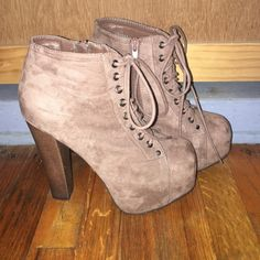 Cute laced up heels! 5 in heel with a 2 in platform in the front. Suede material. Only worn twice. Super cute!!! Breckelles Shoes Heels