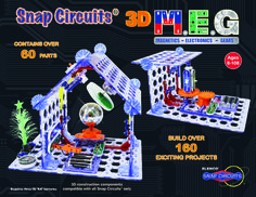 """SNAP CIRCUITS® 3D M.E.G. (Magnetics-Electronics-Gears):  Learn the basics of electricity, engineering, and circuitry with full color, curriculum-rich, easy-to-follow instructions. Contains unique """"stabilizers"""" for building amazing """"3D"""" SNAP CIRCUITS® structures."""