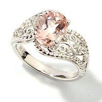 Gem Insider Sterling Silver 1.29ctw Oval Morganite & Diamond Ring ShopNBC.com