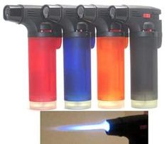 Pack of 4 Single Jet Flame Torch Lighter Windproof Refillable Cigarette Lighter (Jumbo) Jumbo 4 Inches Tall Single Flame Side Torch Gun Lighter Refillable Flame adjustable 4 Pack - includes 1 of each color pictured Best Torch, Tesla Coil, Lighter Fluid, Thing 1, Torch Light, Fire Extinguisher, Looks Cool, Colorful Pictures, Medicinal Plants