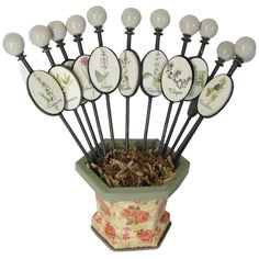 TOO CUTE ! Foot long porcelain knob stakes in all sort of herbs !