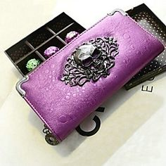 Women's High Quality Europe Retro Punk Skull PU Leather Long Section Wallet(Assorted Colors) | LightInTheBox