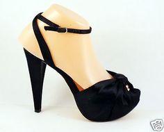 BEBE-Sexy-Lolita-High-Heels-7-M-Ankle-Strap-Platform-Stilletos-Black-Retro