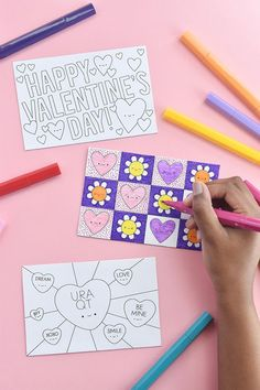 Color a Valentine postcard for your friend or mail some love they can color themselves! Valentine Day Love, Valentine Day Crafts, Easy Crafts, Easy Diy, Printable Postcards, Valentine's Day Diy, Craft Tutorials, Your Cards, Card Stock