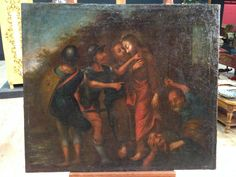 "2500€ Ancient French painting ""Kiss of Judas"" of the 18th century. Visit our website www.parino.it #antiques #antiquariato #painting #art #antiquities #antiquario #canvas #oiloncanvas #landscape #quadro #dipinto #arte #tela #decorative #interiordesign #homedecoration #antiqueshop #antiquestore #sacredart #saint #religious"