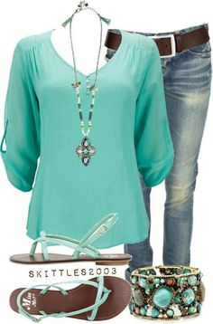 love turquoise!  Can do sandal flats, jeans have to not be skinnies for me-love this look. Love bracelet too!