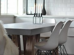How to make a concrete dining table.