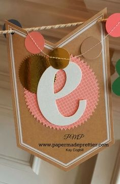 """Leapin' Leprechauns! Stampin' Up's Celebration Basics """"Celebrate"""" banner with St. Patrick's Day leprechaun punch art add on from papermadeprettier (Kay Cogbill). Click here for a full tutorial, sign up for the class or to buy the add on kit! http://www.papermadeprettier.blogspot.com/2014/03/leapin-leprechauns-stampin-ups.html"""