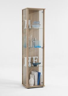 Furniture In Fashion Marine Modern Glass Display Cabinet In Oak with Glass Shelves Shelf Furniture, Home Decor Furniture, Dining Room Furniture, Cabinet Shelving, Display Shelves, Display Cabinets, Living Room Modern, Living Room Designs, Small Living