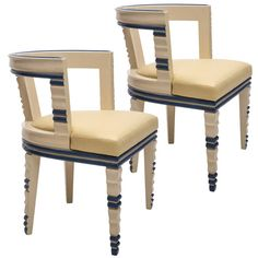 A Remarkable Pair of Italian Art Deco White and Blue Lacquer Armchairs | From a unique collection of antique and modern armchairs at https://www.1stdibs.com/furniture/seating/armchairs/