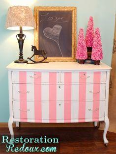 Pink Striped Antique Dresser http://www.restorationredoux.com/?p=3403