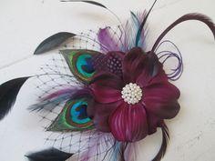 Plum Purple Wedding Hair Fascinator Peacock by NakedOrchidGarters