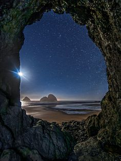 ~~Tunnel Vision ~ Three Arch Rocks at Oceanside under a moonlit and starry sky, Tillamook, Oregon by Larry Andreasen~~