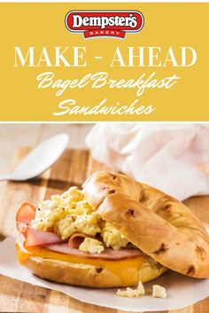 Christmas breakfast is just as important as dinner! Make it easy by putting it together in advance with Make - Ahead Bagel Breakfast Sandwiches.