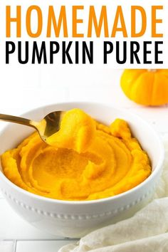 Can't find canned pumpkin? No worries. Making your own pumpkin puree is so easy! Here's how: scoop the seeds, roast, blend and use in recipes that call for pumpkin puree. #pumpkin #pumpkinpuree #eatingbirdfood
