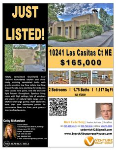 10241 Las Casitas NE has 1120 square feet, 2 bedrooms, 2 baths and a 1 car garage and is for sale at $165,000.