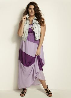 I love the colors on the maxi dress, but I'd go with a short, dark jean jacket and shoes with some heel on them.