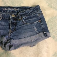 American Eagle Jean Shorts American Eagle Jean Shorts. Size 6. Distressed and medium wash. American Eagle Outfitters Shorts