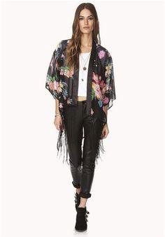 Women Flower Pattern Black Chiffon Tassels Kimono Loose Cardigan Coat Blouse