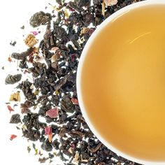 Rhubarb Oolong   TeaSource Rose petals and rhubarb pieces help produce a tea that steeps up sweet, very smooth, and medium-bodied with a very distinctive fruity-rhubarb tang.