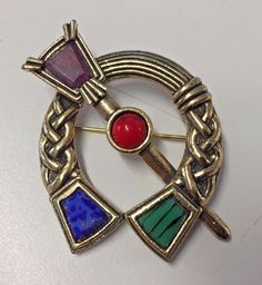 Vintage Designer Miracle Goldtone Red Green Blue Purple Stone Brooch Pin Braided #Miracle