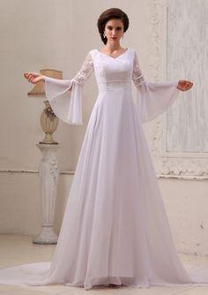 Green Long Sleeve Bridesmaid Dress   Long sleeves Beading Detail Chapel Train Ivory Chiffon Wedding Dresses ...