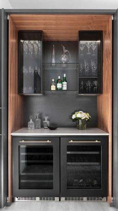Home Bar Rooms, Diy Home Bar, Home Bar Decor, Bar Interior, Home Bar Cabinet, Small Bar Cabinet, Liquor Cabinet, Small Bars For Home, Living Room Bar
