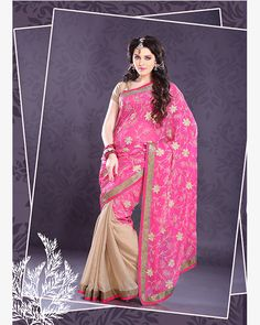 Hot Pink and Papaya-whip Yellow embroidered party saree
