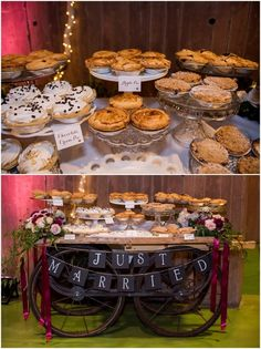 Pie Cart! Such a fun alternative to cakes. Up Up & Away Weddings | KMH Photography, Las Vegas Wedding Photographer