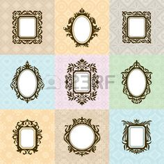 Set of vintage frames vector illustration Stock Vector