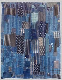 Indigo Boro, made from indigo patches dating from the 19th century  Futon cover, Japan  Measures: 61inches by 50 inches or 127 cms x155c