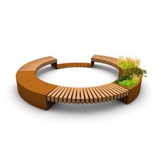 STREETLIFE R&R Between Seats, self-supporting detached seat segments that are secured laterally. The FSChardwood beams may be combined with CorTen planters