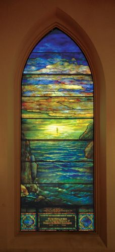 """Phila., PA - """"Sunset"""" (Tiffany glass), 1 of 29 fine stained-glass windows, plus Violet Oakley murals, in First Presbyterian Church in Germantown"""