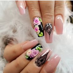 Show off your manicured flower nail designs with roses this season. Explore our striking collection of rose nail art designs. Grab some amazing ideas for yourself. Rose Nail Art, 3d Nail Art, 3d Nails, Cute Nails, Pretty Nails, Acrylic Nails, 3d Nail Designs, Flower Nail Designs, Soft Nails