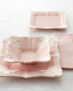 Pink Square Baroque Dinnerware Service at Horchow.this would be pretty with both the silver baroque silverware I have picked out AND the gold and ivory one too Vintage Dishes, Vintage China, Antique Dishes, Vintage Plates, Pink Love, Pretty In Pink, Pale Pink, Pink White, Coral Blush