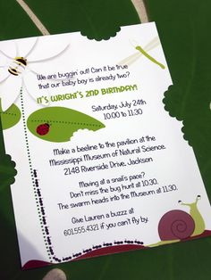 Cute invite with pieces bitten out :)