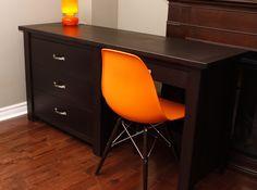 custom made solid wood desk and dresser combo.