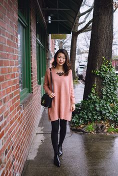 hey pretty thing - love the black tights and black boots combo. also the air of romance to the outfit with the lace detail and blush pink color.