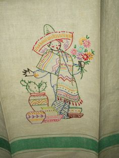 The Gatherings Antique Vintage - Vintage 1930's Green Stripe Embroidery Man Sombrero Mexican Theme Kitchen Towel, $12.50 (http://store.the-gatherings-antique-vintage.net/vintage-1930s-green-stripe-embroidery-man-sombrero-mexican-theme-kitchen-towel/)