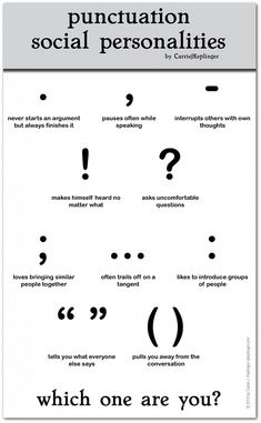 The personalities of various punctuation marks
