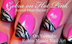 Zebra Print on HOT Pink Nails | Neon Animal Nail Art Design Tutorial