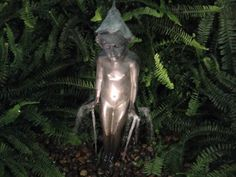 Another view of this fairy Fountain. This is a cast Brass Fountain. He's set up on an underground basin as a 'Disappearing Fountain'. Fairy Fountain, Basin, It Cast, Statue, Sculptures, Sculpture