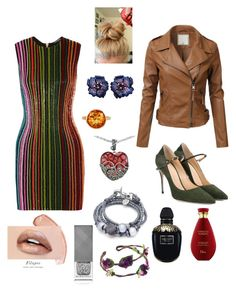 """""""#colorful bright sparkly dress with plain leather jacket and lots of colorful jewelry"""" by drey-harper on Polyvore featuring Balmain, Jennifer Chamandi, Plukka, Lord & Taylor, Lizzy James, Alexander McQueen and Burberry"""