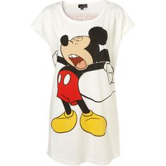White Mickey Mouse Print Oversize Pj Tee (48 AUD) ❤ liked on Polyvore featuring tops, t-shirts, shirts, pajamas, blusas, women, oversized t shirt, mickey mouse tee, white tee and white cotton t shirts